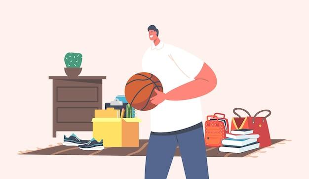 차고 판매에 농구 공을 사는 남자. 남성 캐릭터 방문 벼룩시장 구매를 위해 빈티지 물건을 선택합니다. 두번째 손