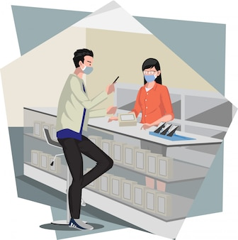 A man buying new phone at smartphone store illustration