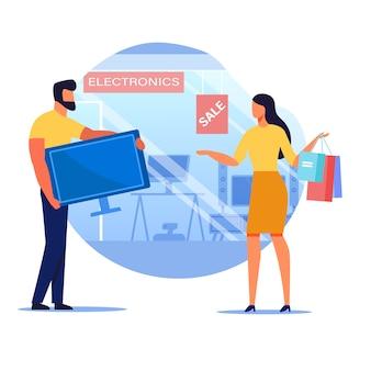 Man buying television flat vector illustration