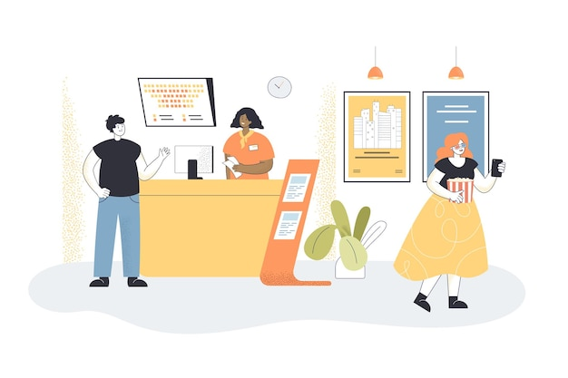 Man buying tickets at box office in movie theatre. cashier selling tickets to films at counter flat illustration