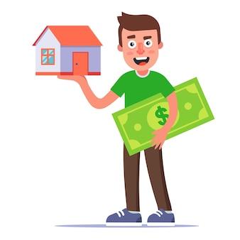 남자는 집을 산다. 손바닥에 국가 집. 임대 부동산. 평면 그림.
