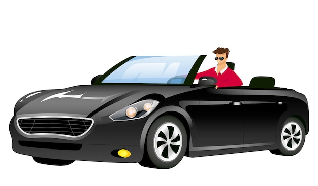 Man in cabriolet flat design color faceless character