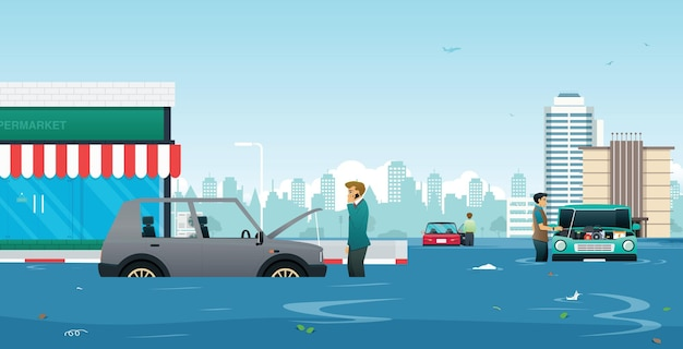 A man called a mechanic to consult the car breakdown from the flood Premium Vector