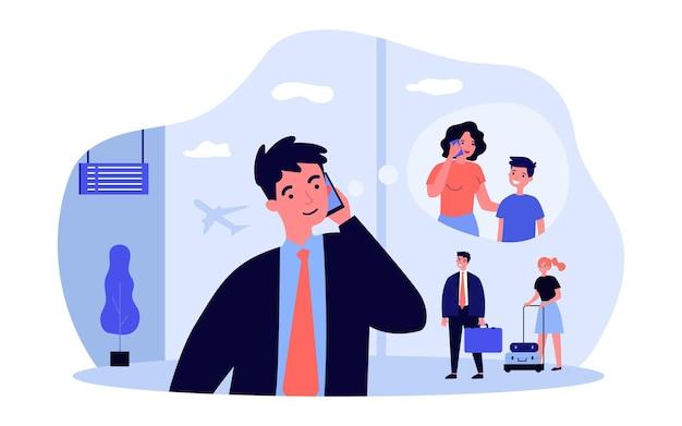 공항에서 가족에게 전화하는 남자. 평면 벡터 일러스트 레이 션. 비행 전이나 착륙 후에 아내와 아들과 이야기하는 젊은 남자. 가족, 이동 통신, 여행, 디자인을 위한 비행 개념