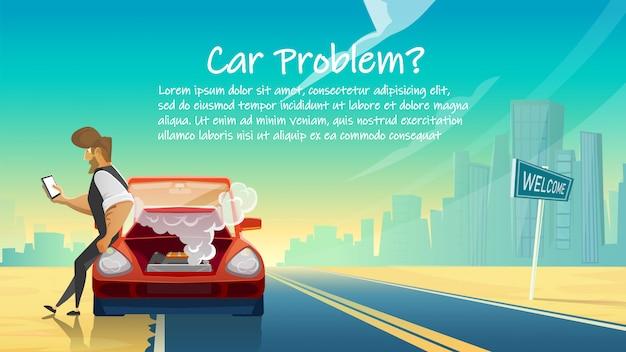 Man calls car service. breakdown and car problems.