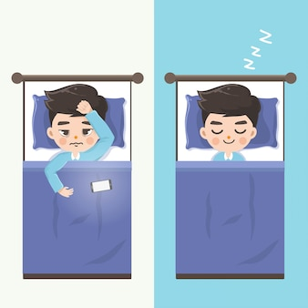 The man can't sleep and makes him sleep comfortably by without mobile phones.