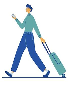 남자는 가방을 운반합니다. 여행, 휴가, 모험. 레크리에이션 및 관광. 여행. 가방과 휴대전화를 손에 들고 공항 터미널로 향하는 젊은 남자. 만화 벡터 일러스트 레이 션