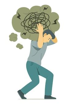 Мужчина несет на плечах символ большого мыслительного пузыря замешательства