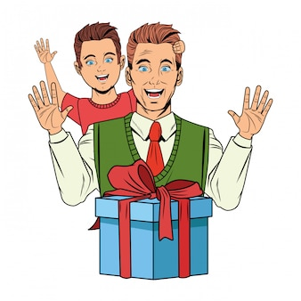 선물 상자와 소년을 들고 남자