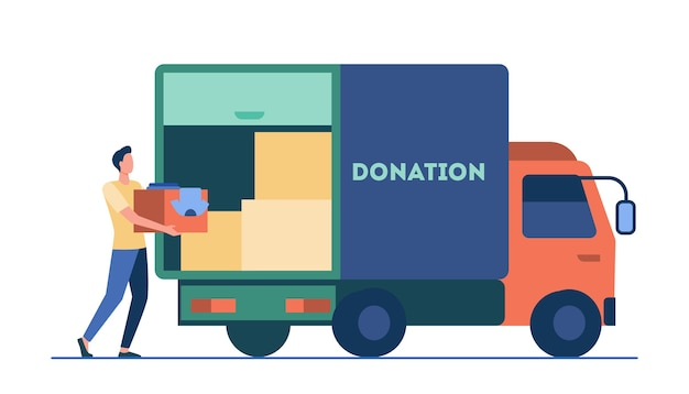 Man carrying box with clothes to donation truck. courier, volunteer, vehicle flat vector illustration. volunteering, charity, aid concept