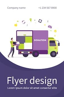 Мужчина несет коробку с одеждой в грузовик для пожертвований. курьер, волонтер, автомобиль плоский флаер шаблон