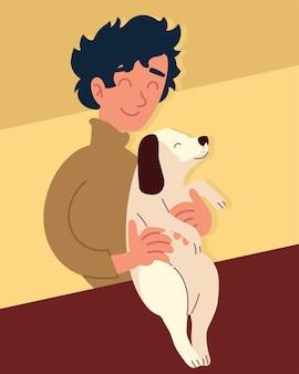 犬を運ぶ男