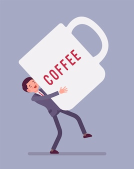 Man carrying giant coffee mug