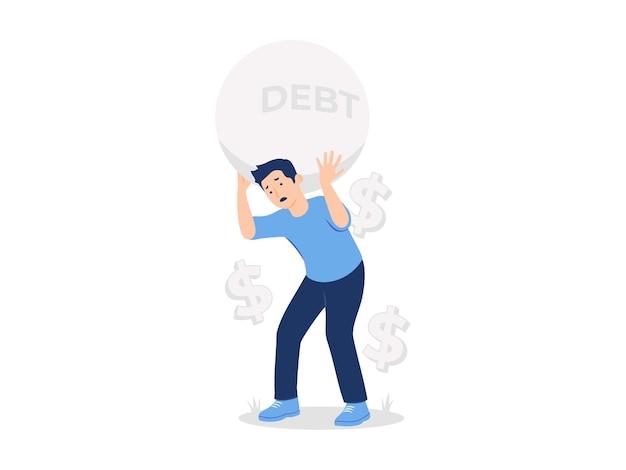 Человек, несущий гигантскую иллюстрацию концепции долгового шара