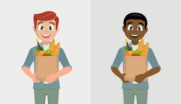 야채와 식료품 쇼핑 가방을 들고 남자