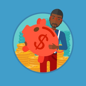Man carrying piggy bank vector illustration.