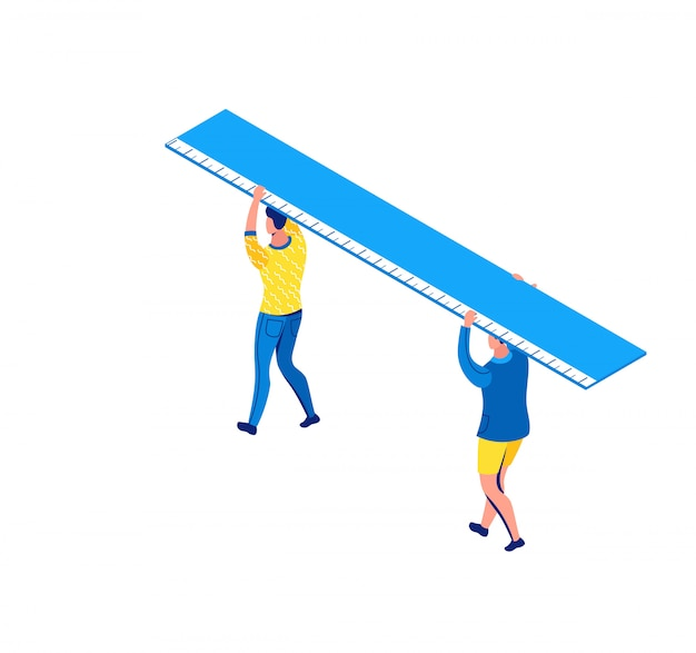 Man carrying ruler, stationery creative concept, isometric people