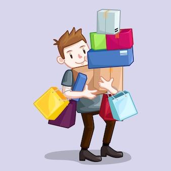 Человек, перевозящий сумку и сумку