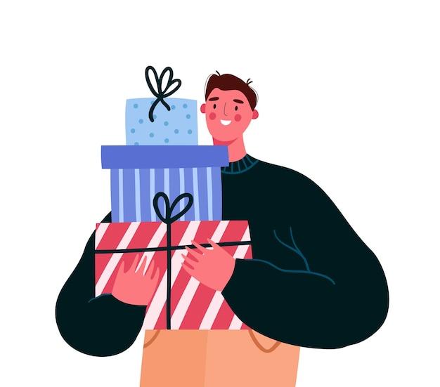 포장 된 선물 상자를 들고 남자