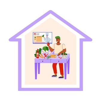 남자 만화 캐릭터는 고립 된 집에서 요리를 즐길 수