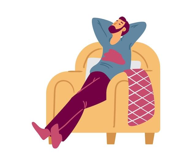 Человек мультипликационный персонаж, отдыхая в кресле у себя дома плоские векторные иллюстрации изолированные