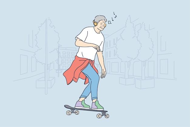 Человек мультипликационный персонаж катается на скейтборде