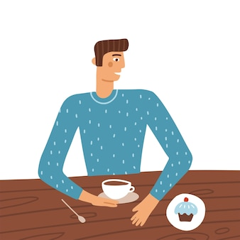 남자 만화 캐릭터 레스토랑에서 테이블에 앉아 케이크 젊은 남자가 입고 커피를 마시는...