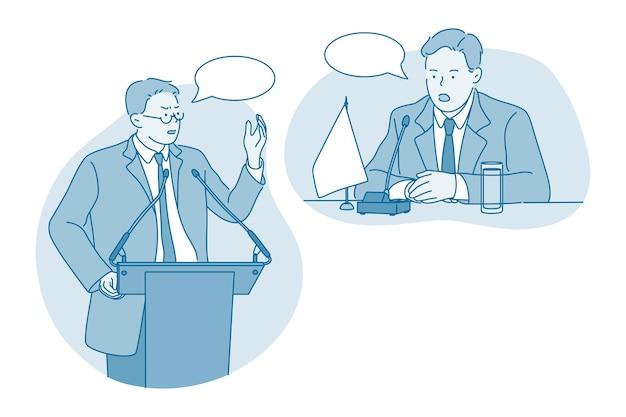 Человек мультипликационный персонаж, стоящий на трибуне, делая презентацию