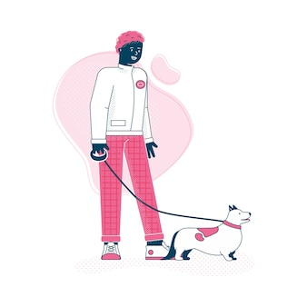 Man cartoon character walking the dog on a leash, trendy owner and his pet animal walking together.