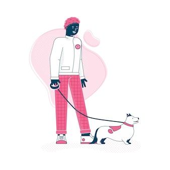 ひもにつないで犬を歩く男の漫画のキャラクター、トレンディな飼い主と彼のペットの動物が一緒に歩いています。