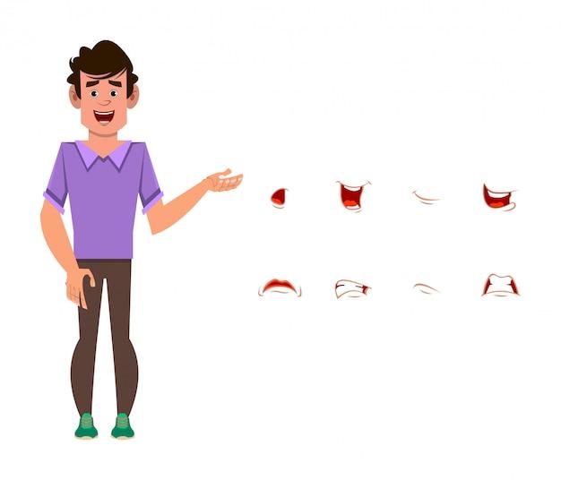 Человек мультипликационный персонаж с различным набором выражения лица. разные эмоции для кастомной анимации