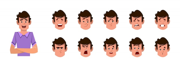 Man cartoon character with different facial expression set.  different facial emotions for custom animation