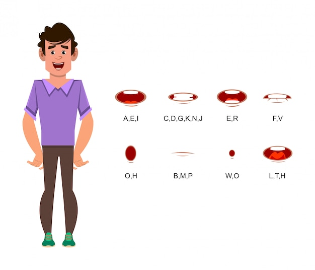 Man cartoon character with different lip sync for design, motion or animation