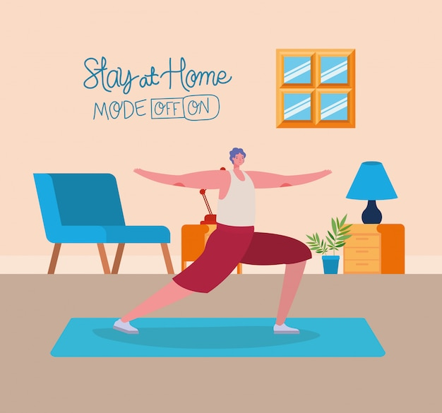 Man cartoon doing exercise design of stay at home and activities theme illustration