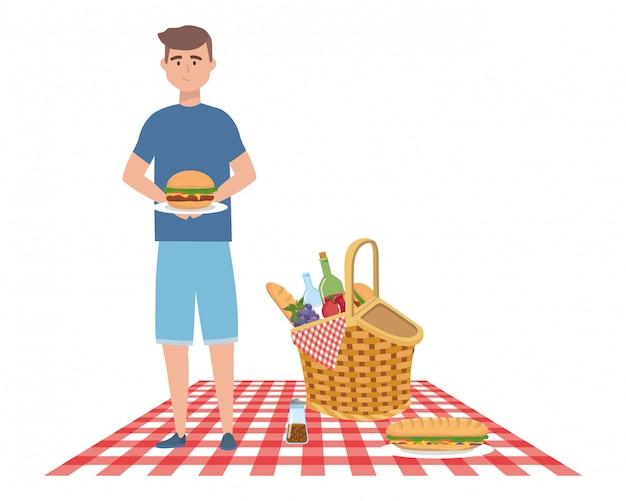 Man cartoon having picnic