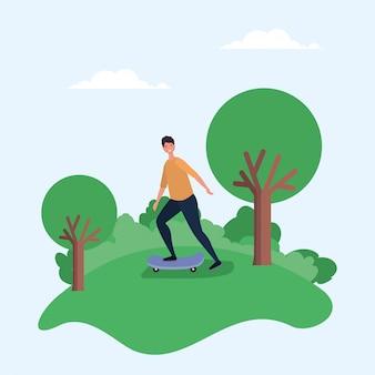 木のベクターデザインの公園でスケートボードの男漫画