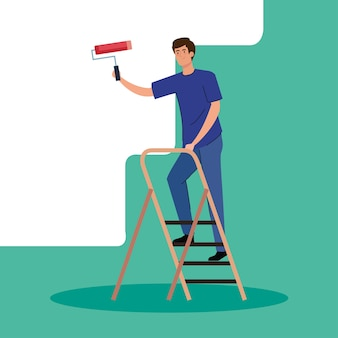 Man cartoon painting with roll on ladder design of remodeling construction working and repairing