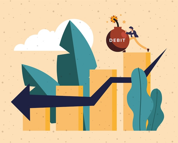 お金の金融ビジネス銀行商取引と市場のテーマの図のバーチャートにデビット爆弾を押す男の漫画