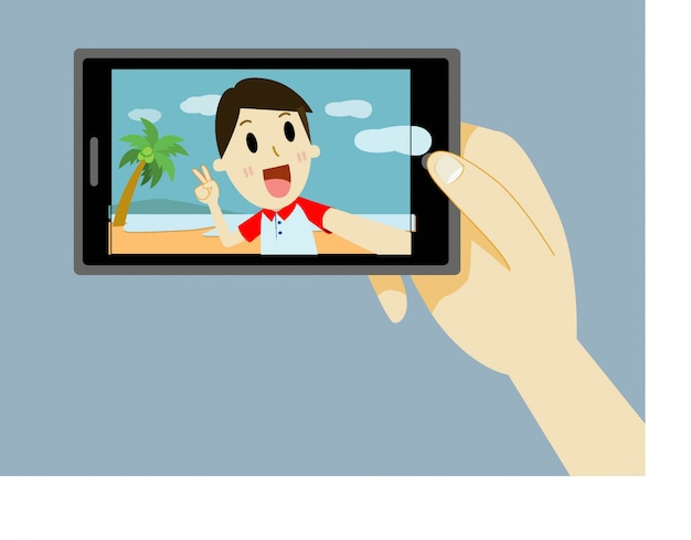 Man cartoon taking a self portrait with smart phone