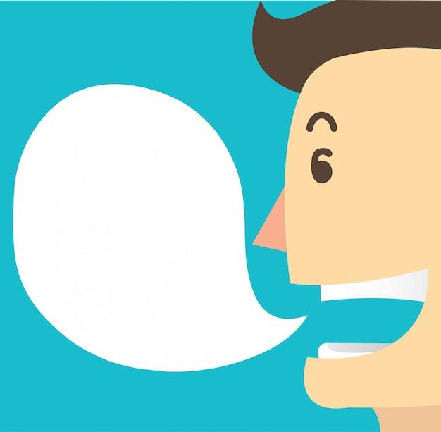 Man cartoon talk and chat box