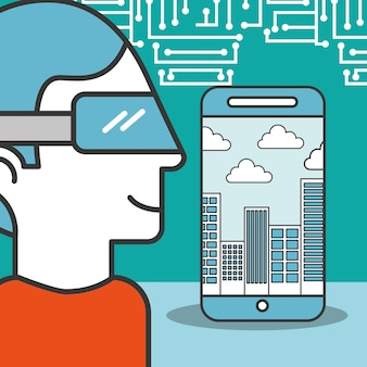 Man cartoon using vr glasses smartphone city technology