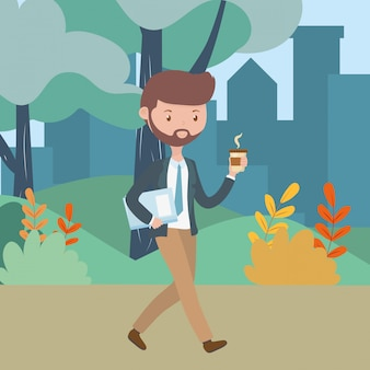 Man cartoon with coffee mug in the park