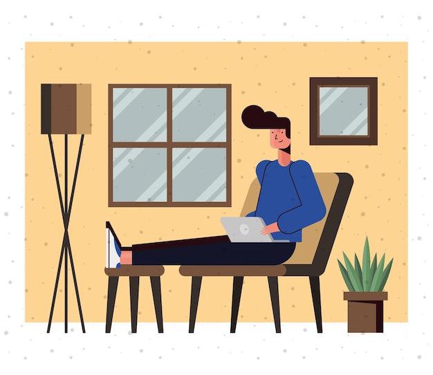 Мультфильм человек с ноутбуком дома дизайн, цифровые технологии и тема связи