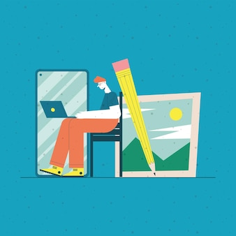 Man cartoon with laptop at desk smartphone pencil and picture