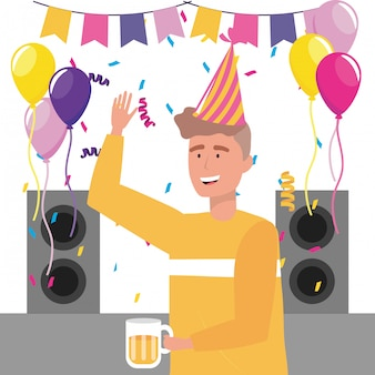 Man cartoon with party hat
