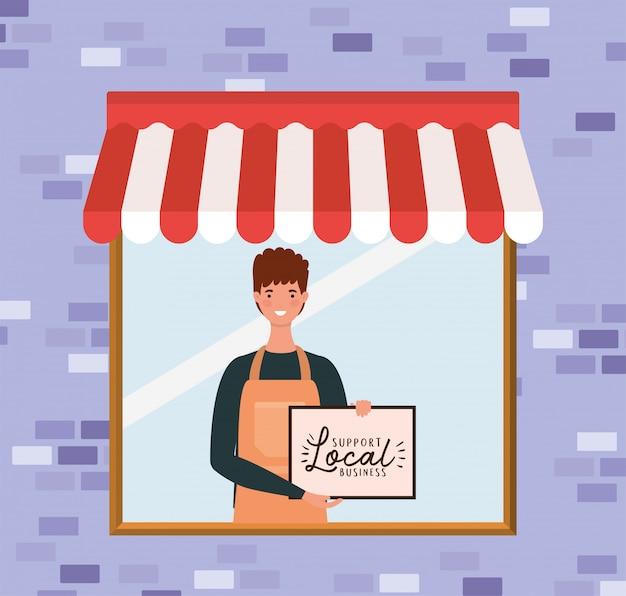 Человек мультфильм с магазином местный плакат в магазине дизайн розничной покупки и темы рынка