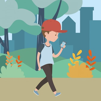 Man cartoon with smartphone in the park