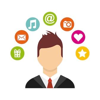 Man cartoon with social media icons around