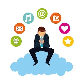 Man cartoon with social media icons