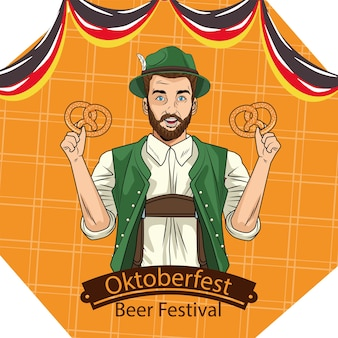 Man cartoon with traditional cloth and pretzels design, oktoberfest germany festival and celebration theme